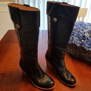 COACH Black leather mid calf Fayth boots sz 7